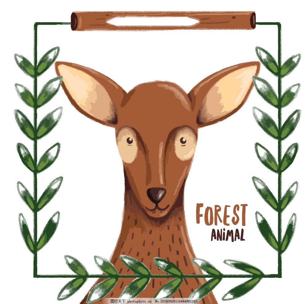 手绘可爱的小鹿 镜框 水彩 手 自然 动物 性格 森林 可爱的 叶 鹿