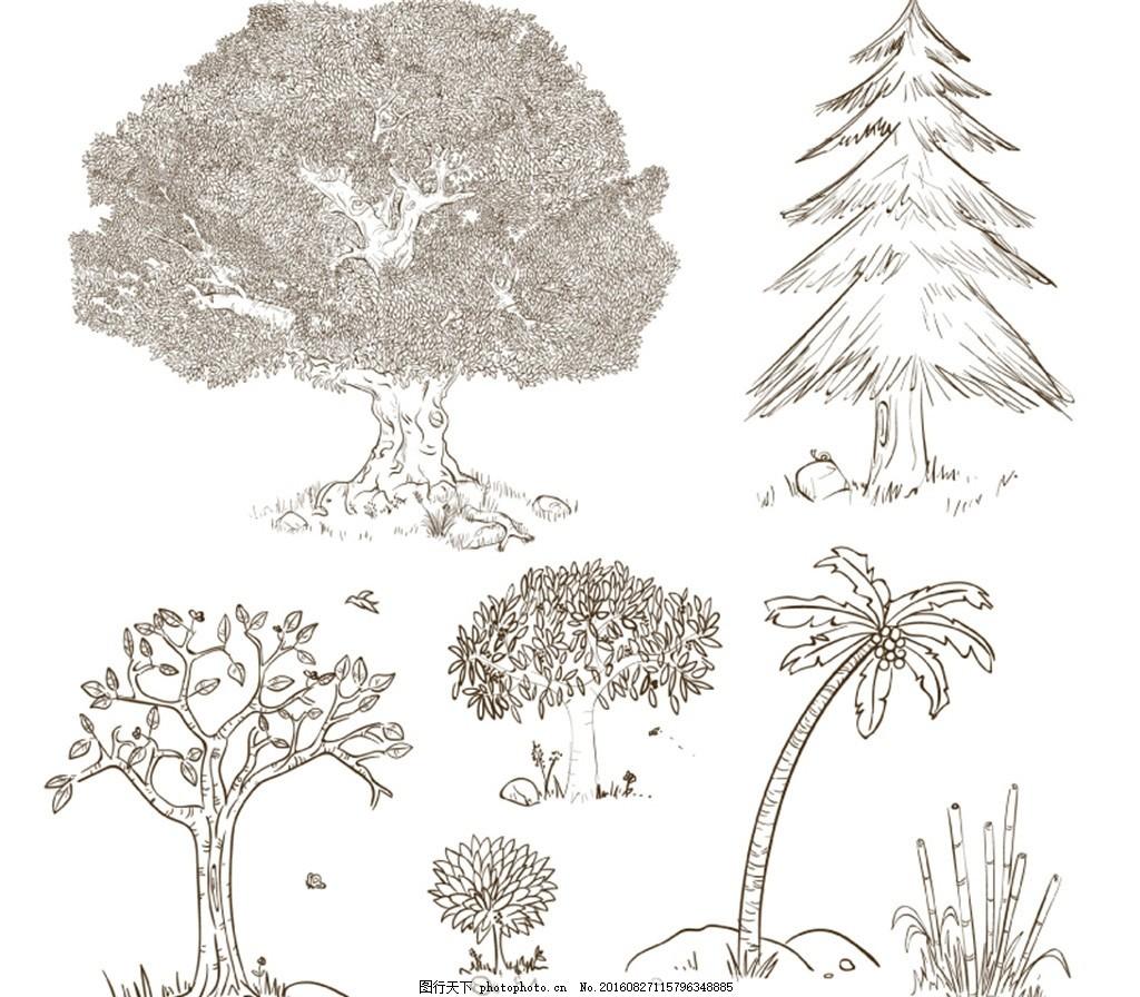 手绘树木设计矢量素材 竹子 榕树 松树 椰子树 矮树丛 植物 矢量图