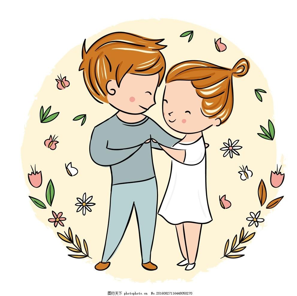 手绘情侣 心花爱 绘制 情人节 一天 可爱的 叶 庆典 夫妇
