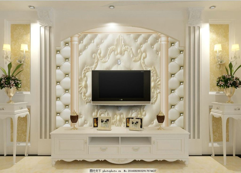 电视效果图 电视背景墙 软包 欧式大气 时尚 设计 psd分层素材 背景素