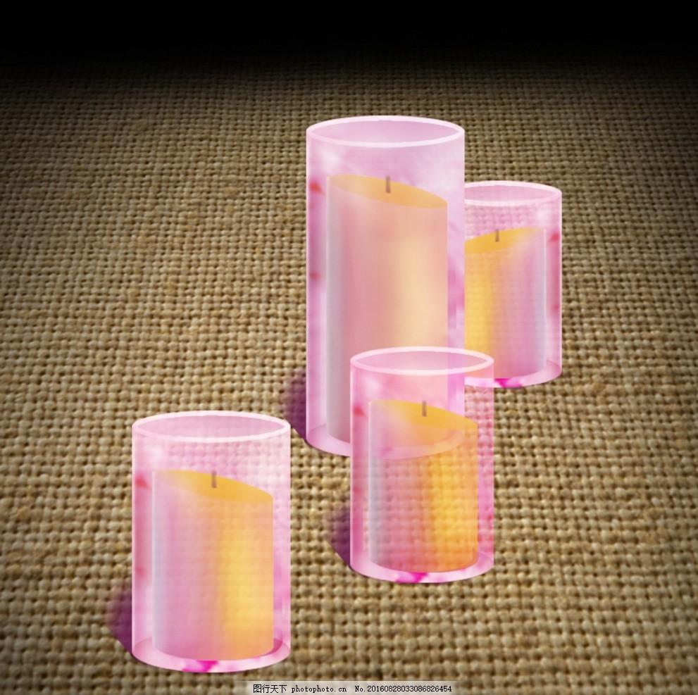 手绘 玻璃杯 蜡烛 杯子 蜡烛 婚庆 路引 道具 透明 粉色 手绘 设计