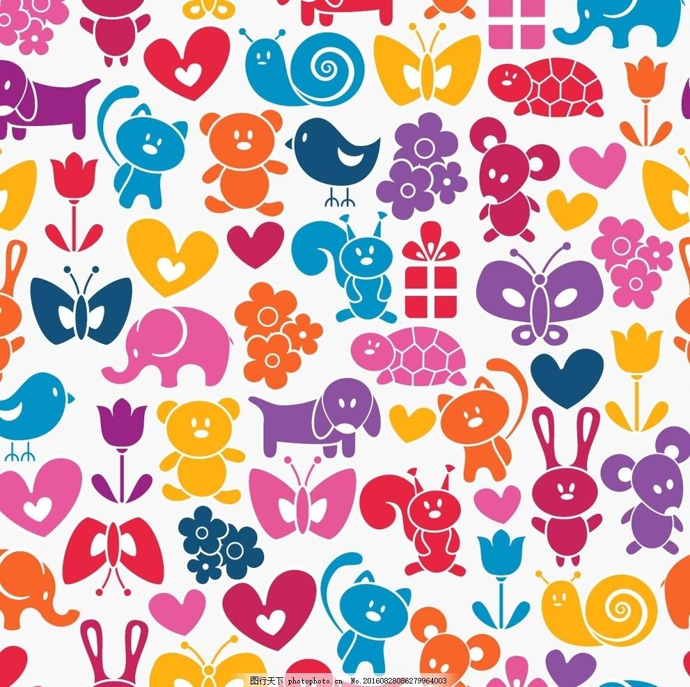 底纹背景 动物剪影 小动物 动物 服装印花 内衣印花 蝴蝶 兔子 蜗牛