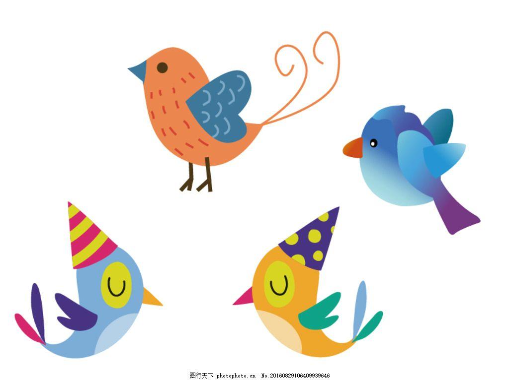 矢量素材 手绘 装饰素材 可爱卡通 小鸟 卡通小鸟 矢量小鸟 手绘小鸟