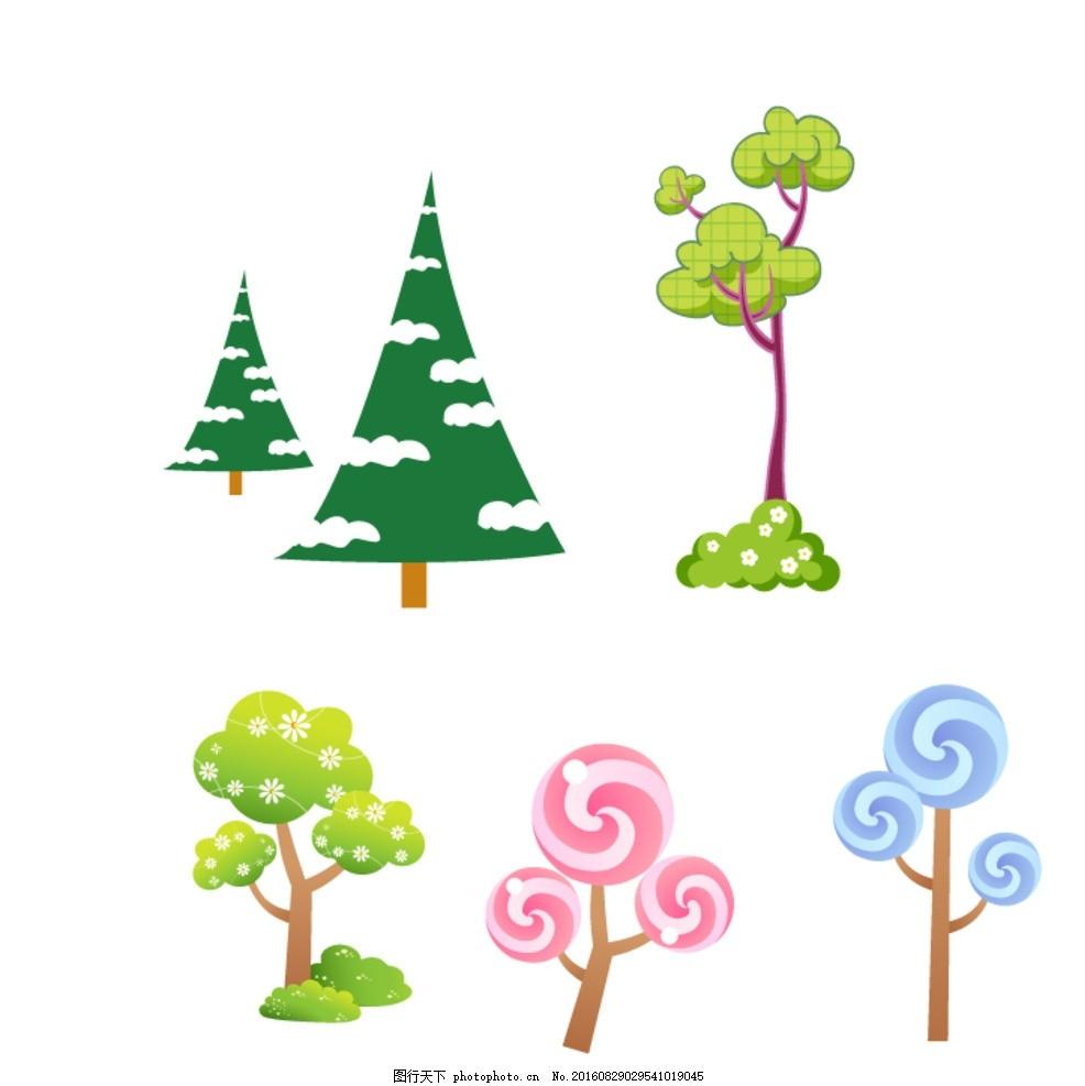 树木 卡通素材 可爱 手绘素材 儿童素材 矢量 抽象设计 时尚