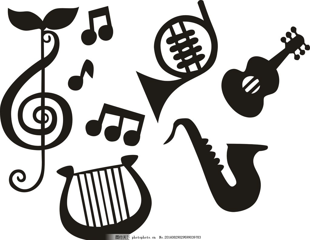 矢量乐器 音乐 演奏 矢量图标 标签 黑白图标 炫彩音乐 动感地带 音符
