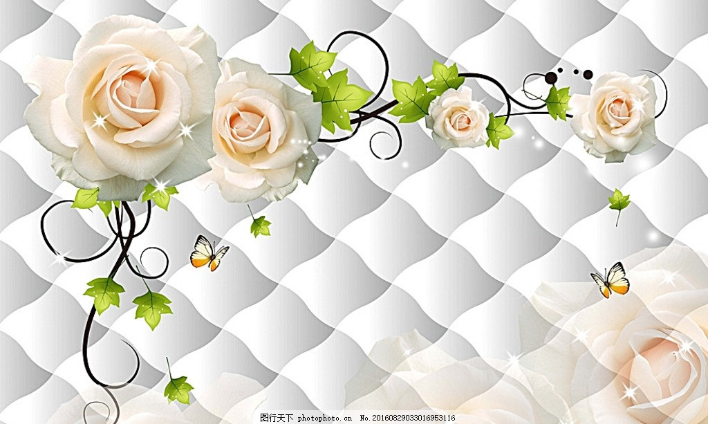 3d软包花朵电视背景墙 方块 花藤 藤蔓 月季 花卉 手绘梦幻蝴蝶