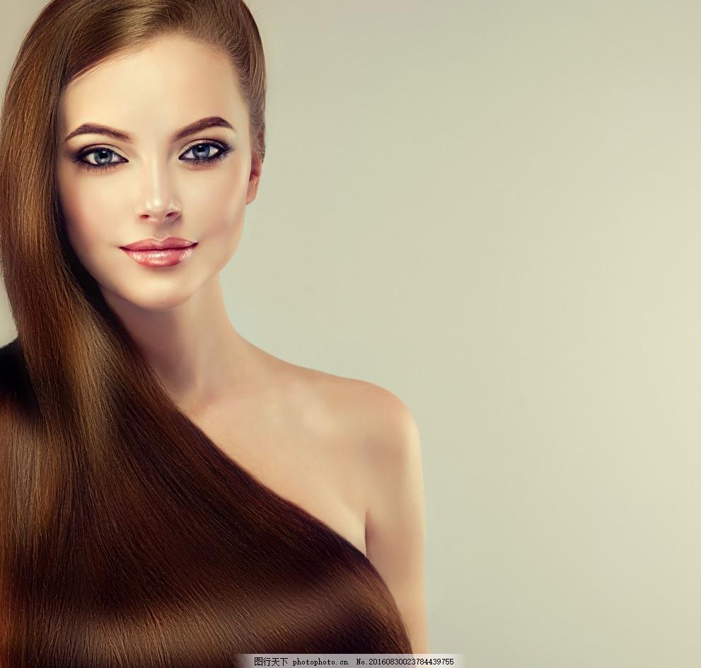 欧美美女 飘逸长发 性感美女 漂亮女人 秀发 发型 直发器 直发器广告