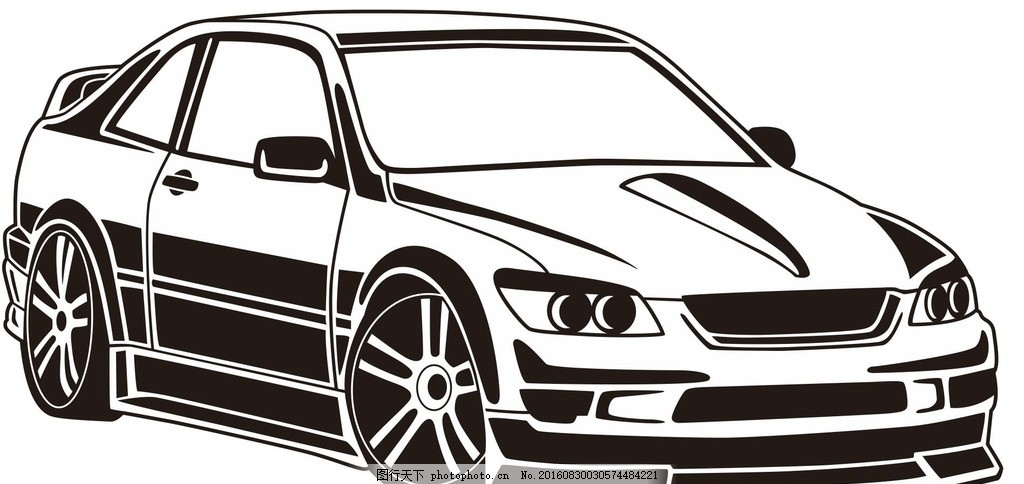 小轿车 私家车 小汽车 汽车 车辆 机械车 交通工具 车 简笔画 线条