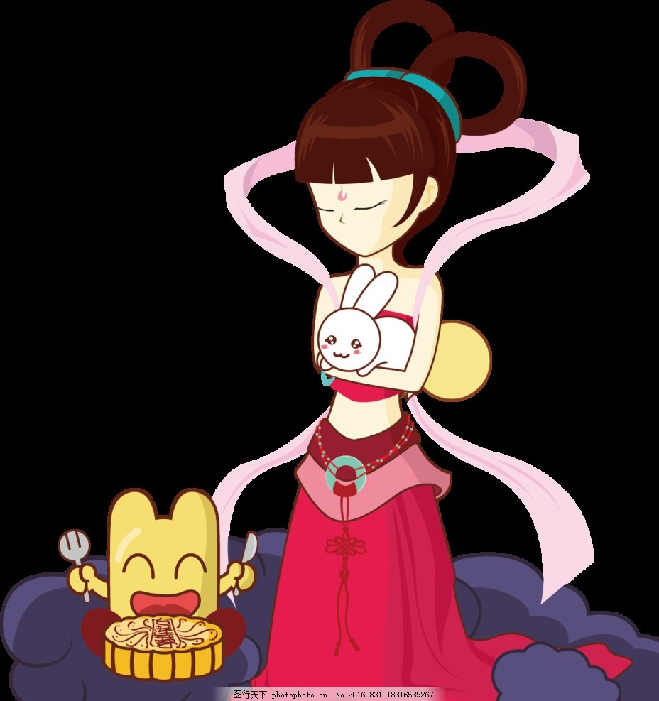 中秋节设计元素 卡通手嫦娥玉兔 月饼 手绘 动漫动画