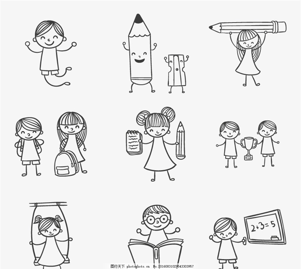 手绘玩耍的校园儿童矢量素材 女孩 男孩 孩子 铅笔 铅笔刀 书本
