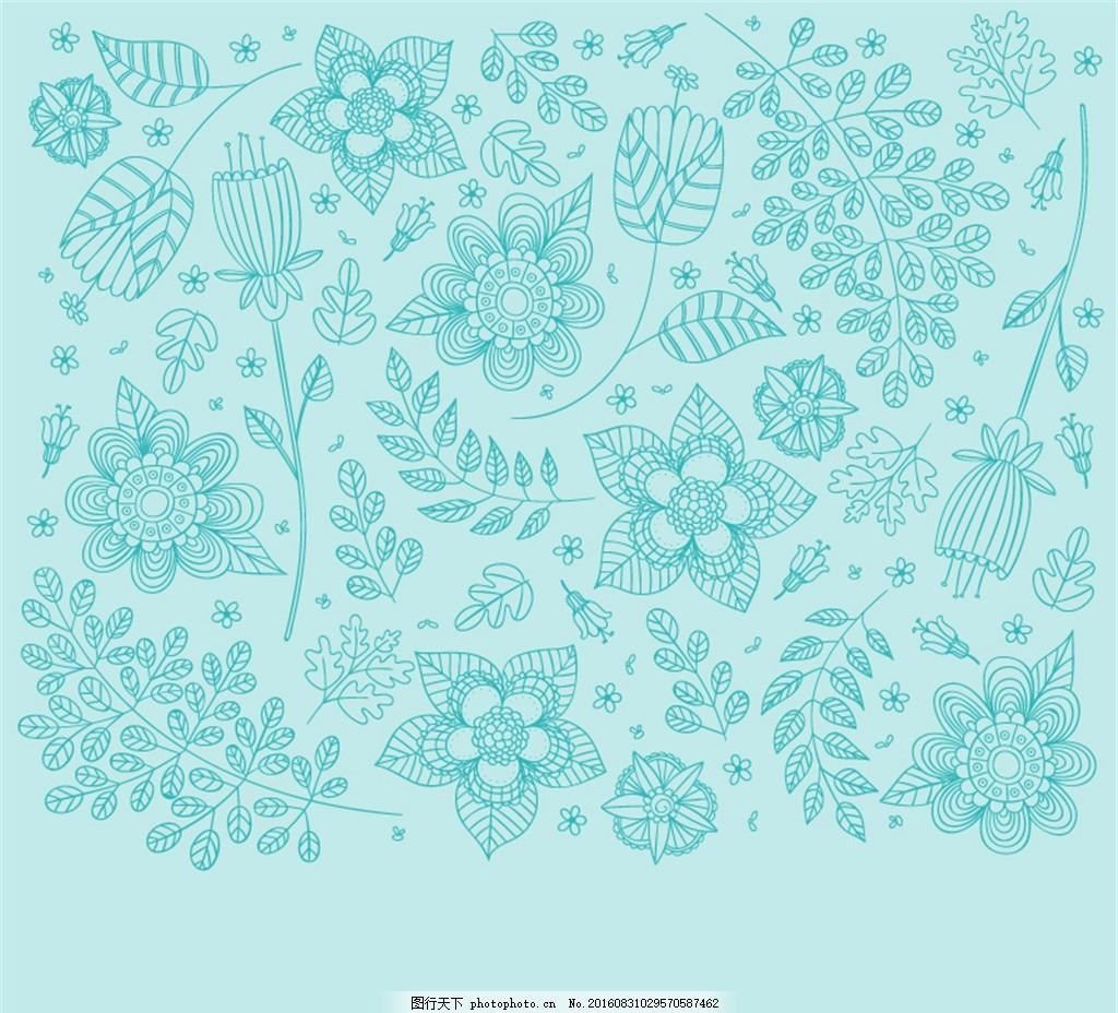 绿色花朵与树枝无缝背景矢量素材 花纹 花蔓 树叶 植物 手绘 矢量图