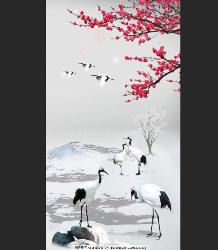 丹顶鹤画 腊梅 山水风景 风国画牡丹 牡丹花 仙鹤 花开富贵 牡丹图