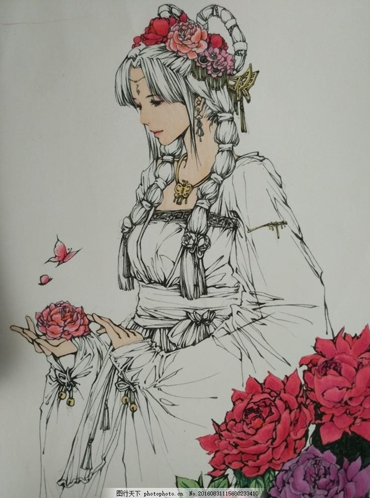手绘彩铅 绘画 古风 彩色铅笔 牡丹仙子 唐装美女 文化艺术 绘画书法