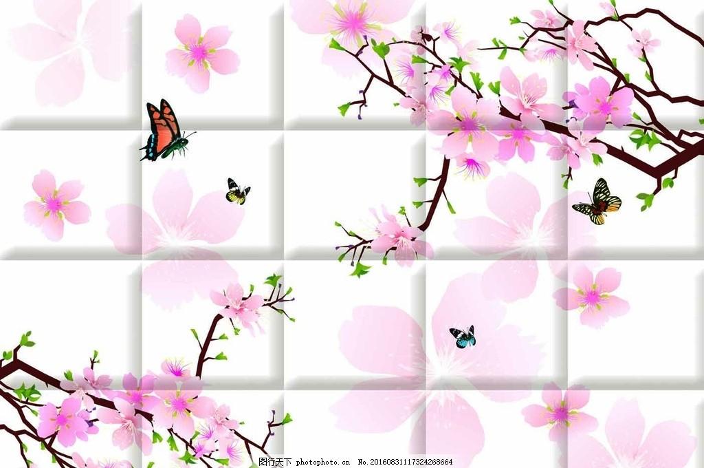 背景墙 梅花桃花兰花 树枝 蝴蝶 花朵花瓣 现代简约梦幻 中式国画