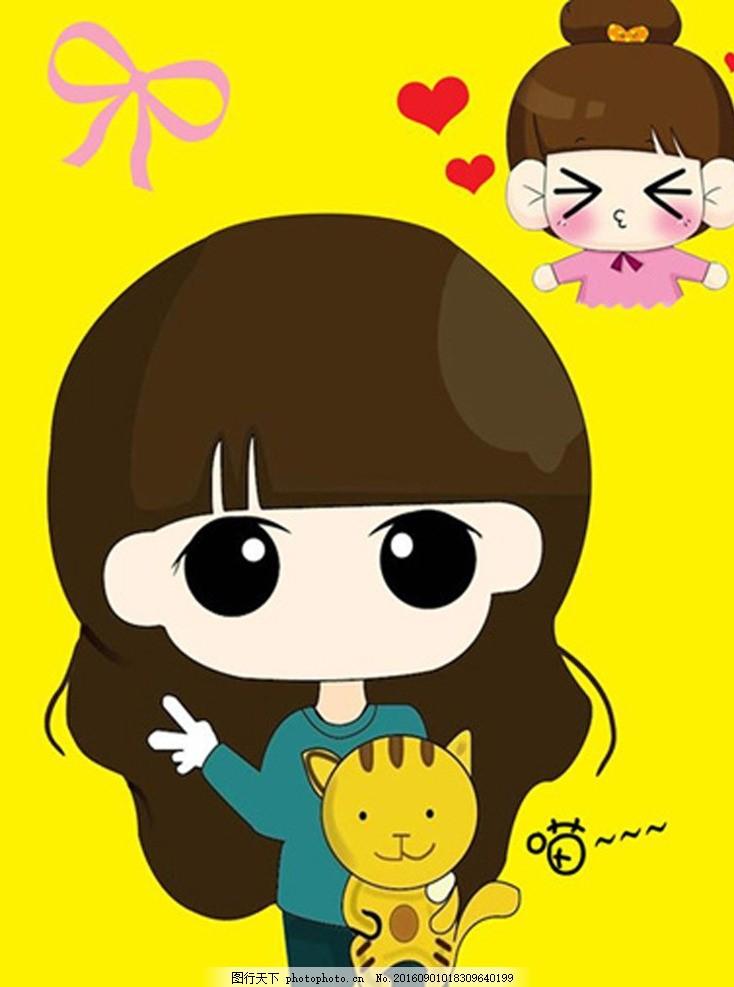 卡通小希 长发女孩 猫咪 小希抱着小猫 蝴蝶结 亲亲 爱心 高清qq背景