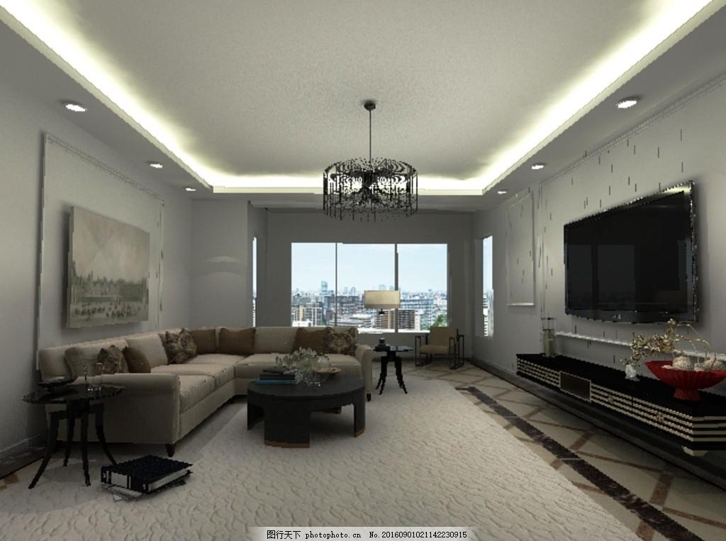 客厅 白色 吊灯 沙发 电视 波导线