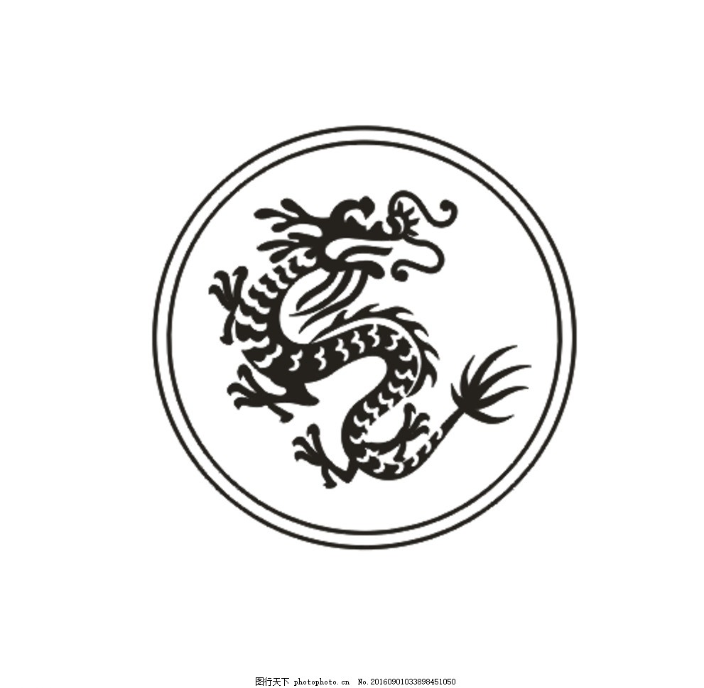 龙纹 素描 黑色 条纹 图片素材