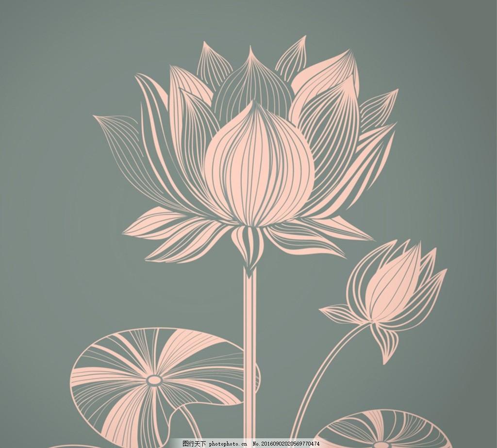 手绘荷花 矢量高清线条 手绘工笔荷花 卡通 荷叶 莲花 背景墙素材