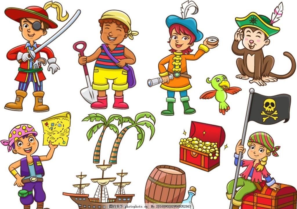 水手 猴子 财宝 船 椰子树 木桶 藏宝图 鹦鹉 装扮 海盗 探险 儿童