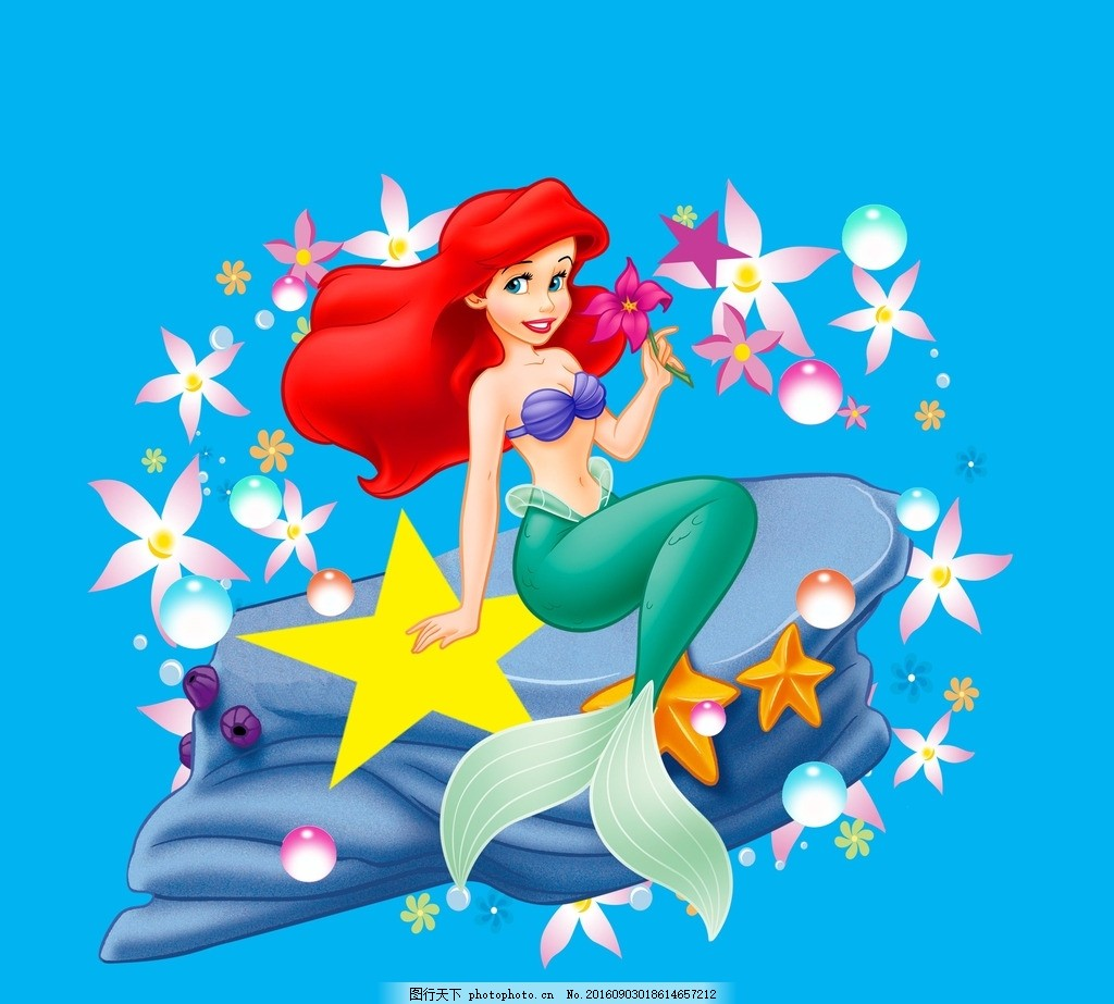 跳舞的美人鱼 卡通美人鱼 迪士尼公主 迪士尼美人鱼 人鱼 鱼 彩色渐变