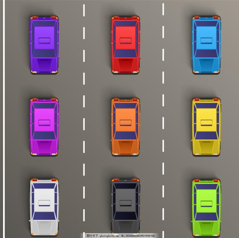 彩色轿车交通阻塞背景 道路 汽车 矢量图