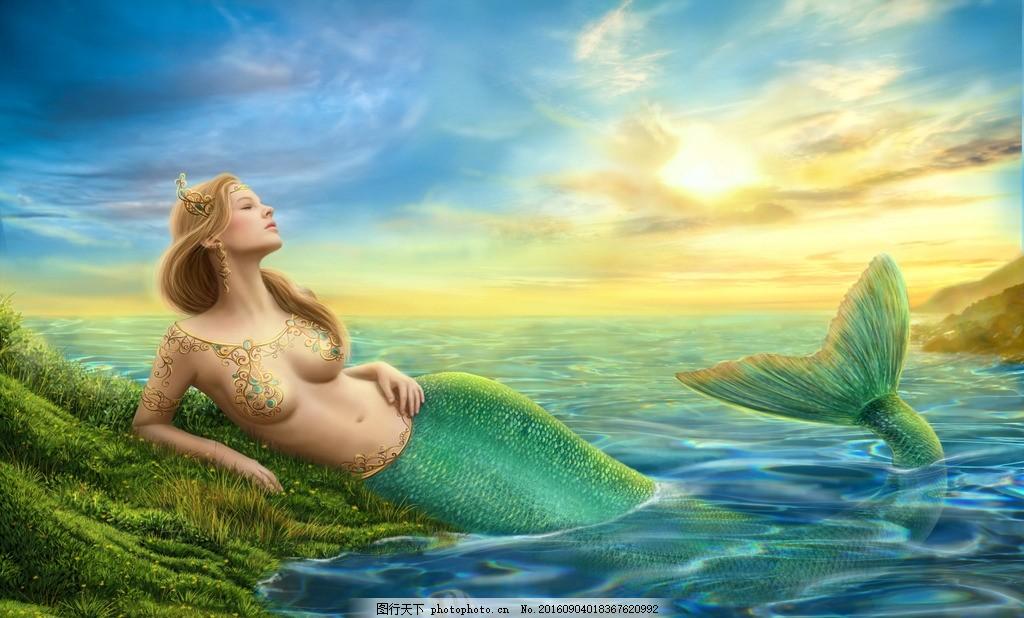 美人鱼 装饰画 墙画 美女 绘画 海洋 手绘 水彩 油画 动漫动画