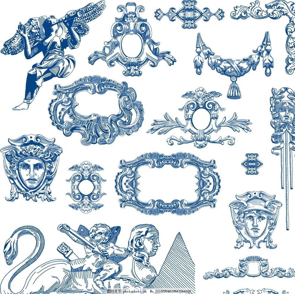 手绘欧式建筑装饰图案纹饰矢量