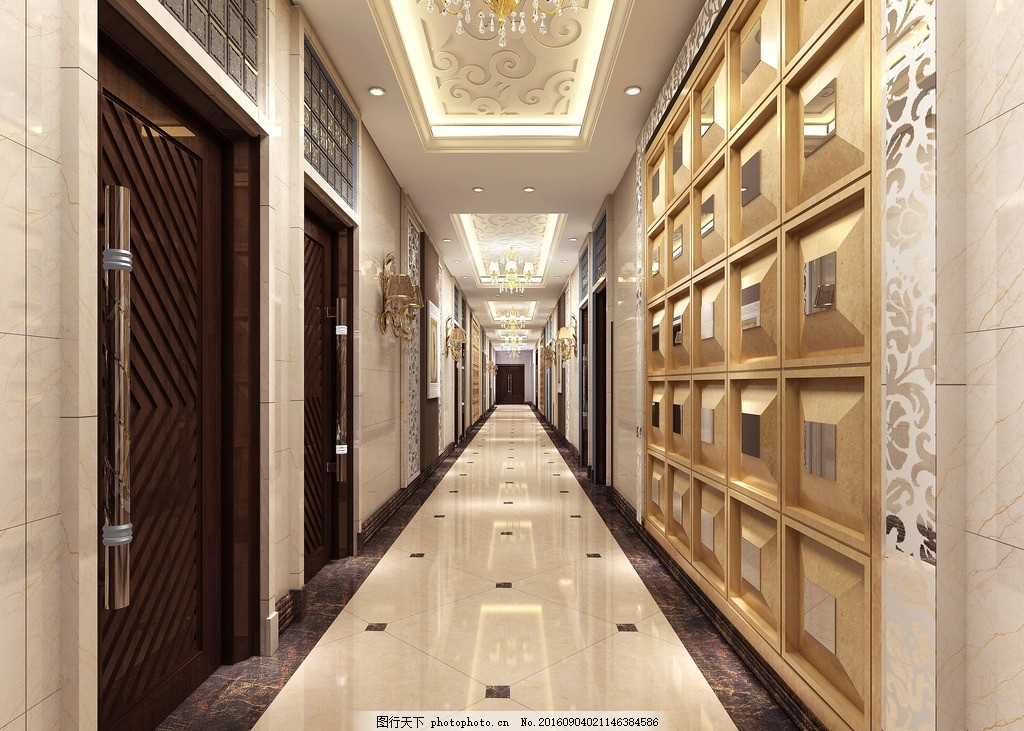 欧式spa走廊效果图 欧式风格 spa走廊 走廊效果图 茶楼 3d效果图 设计
