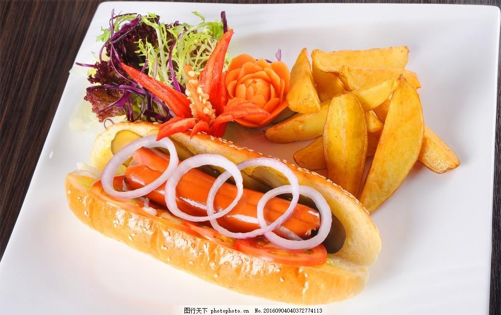 食物美食 西餐 汉堡 薯条 可乐鸡翅 优雅 高端 热狗 萝卜 摄影