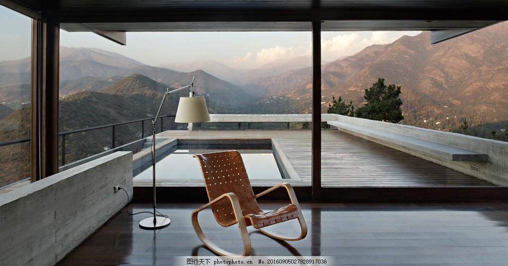 别墅 豪宅 建筑 游泳池 山顶 落地窗 阳台 景观 山地 简约 豪华 欧式