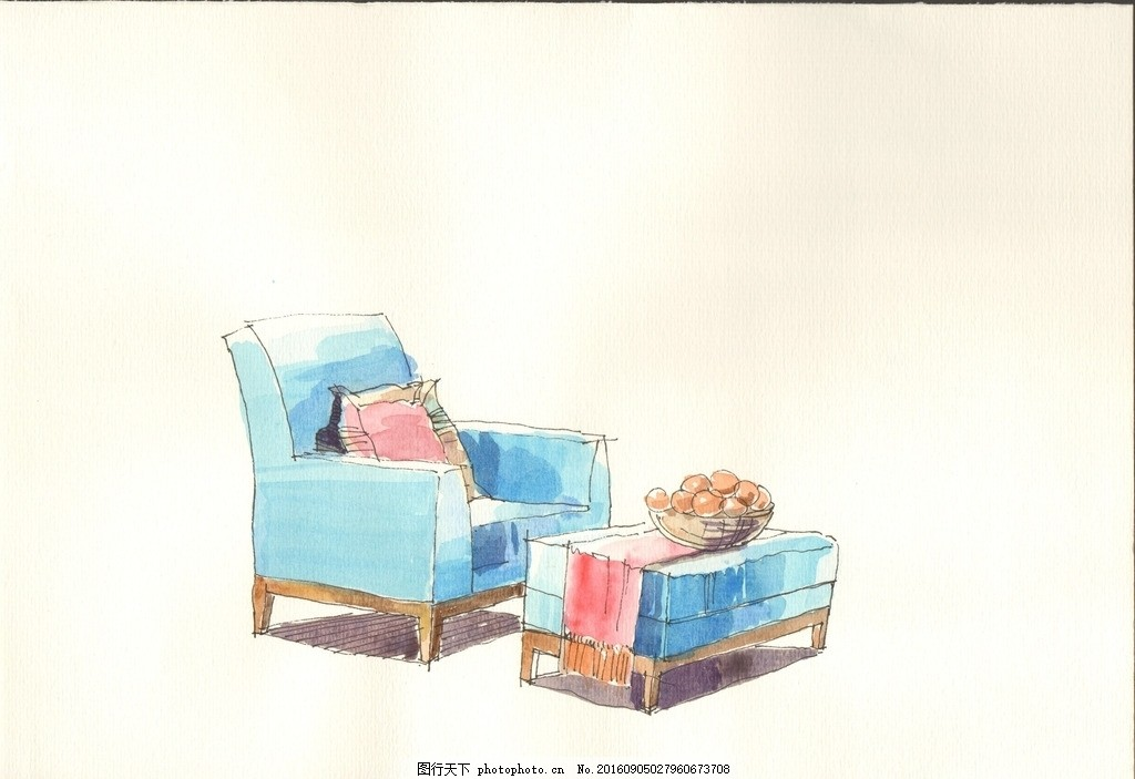 水彩画 沙发 单体 手绘效果图 水彩表现技法 设计 环境设计 室内设计