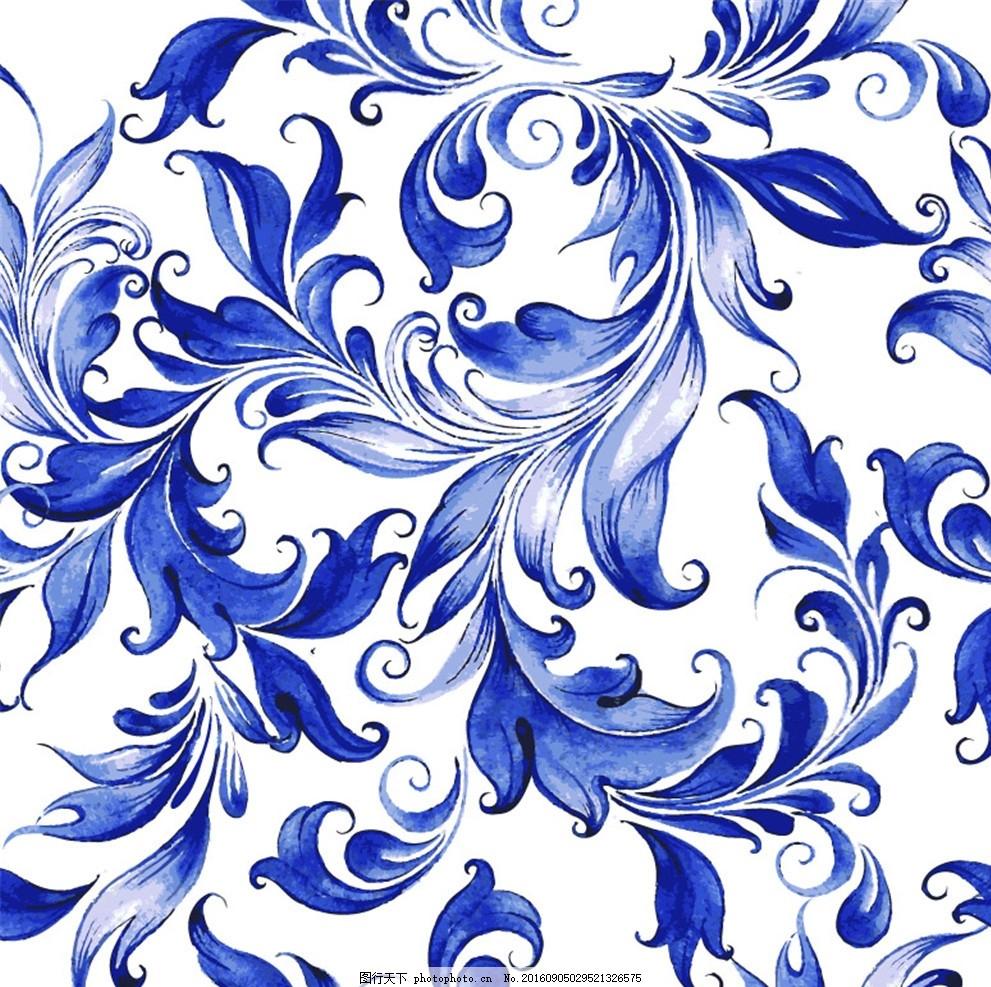 蓝色水彩花蔓无缝背景矢量素材
