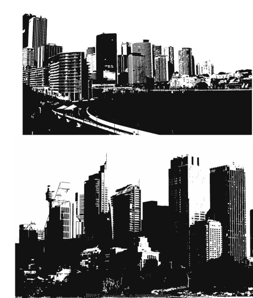 欧洲建筑 城市风景 手绘 时尚 潮流 矢量素材 素材 黑白剪影 矢量城市