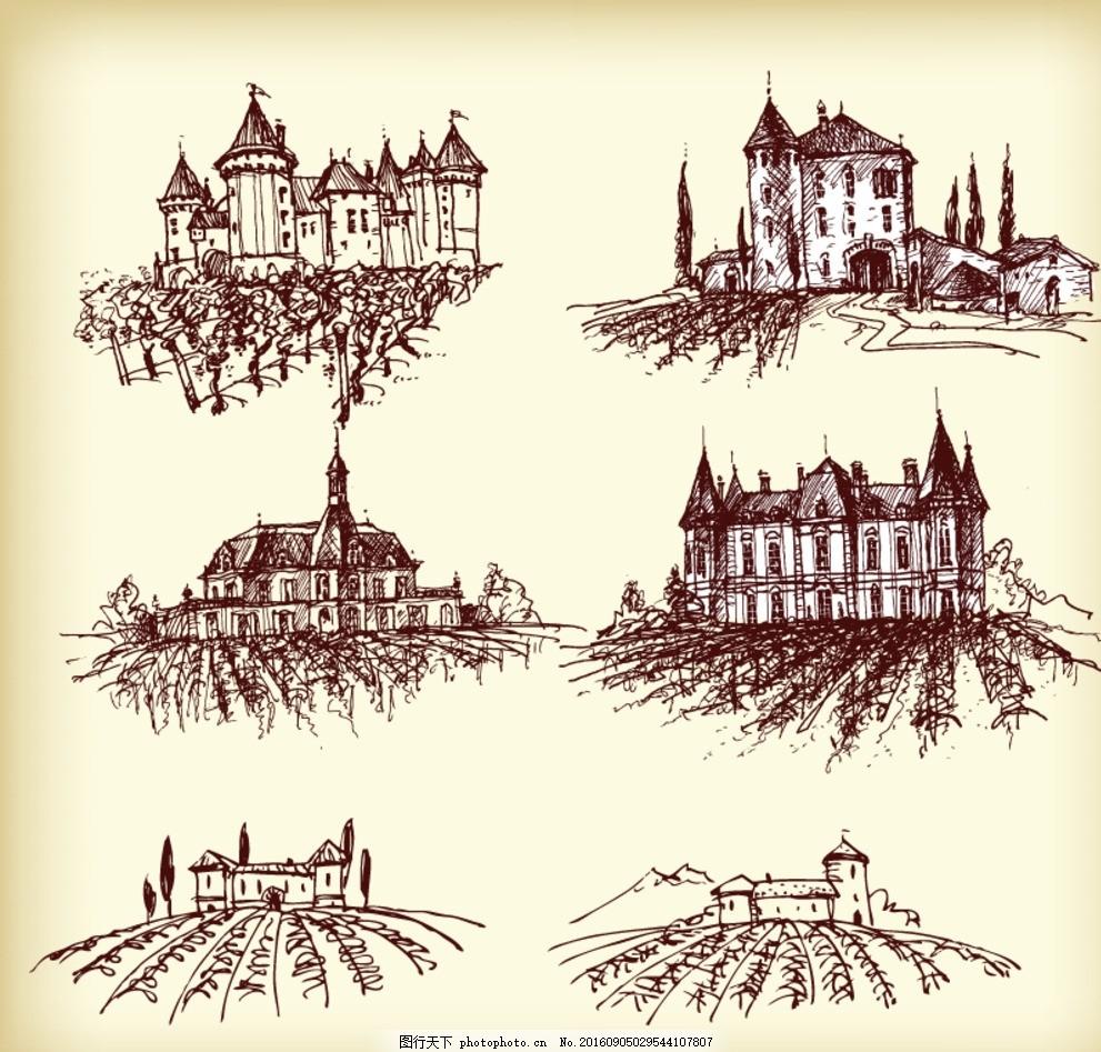 红酒庄园素描 手绘素材 抽象设计 时尚 矢量素材 矢量素描素材