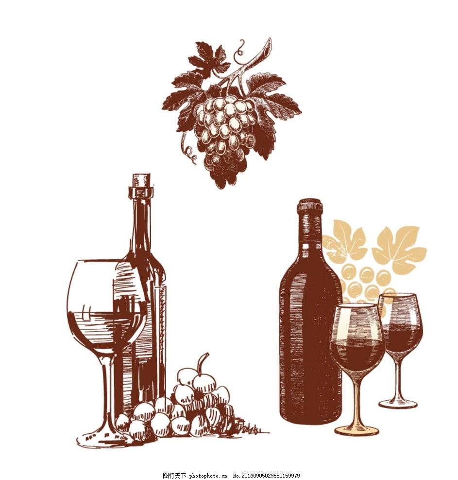 葡萄酒 酒杯素描 手绘素材 抽象设计 时尚 矢量素材 矢量素描素材