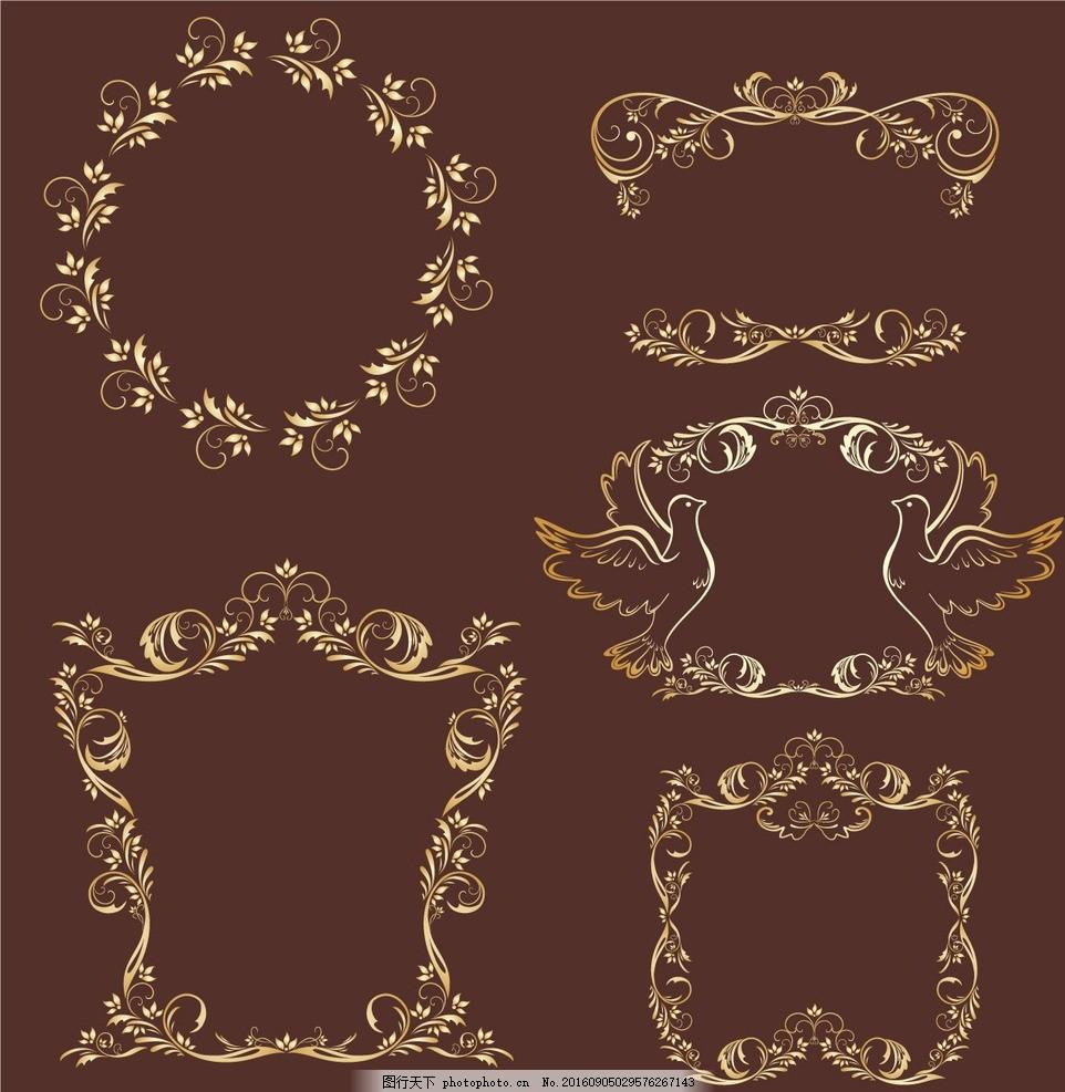 金色欧式花纹 花纹 花边 装饰 图案 欧式 复古 怀旧 花角 欧式花纹