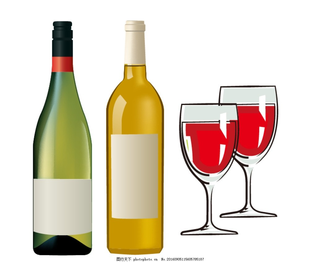 红酒杯 酒瓶 葡萄 红酒素材 红酒元素 葡萄酒素材 手绘杯子 高脚杯