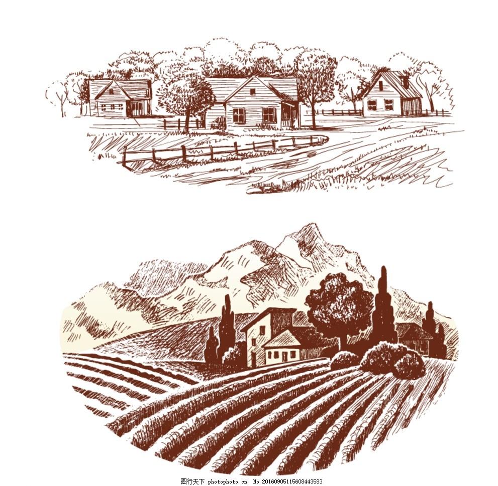 红酒庄园 手绘素材 抽象设计 时尚 矢量素材 素描 矢量素描素材