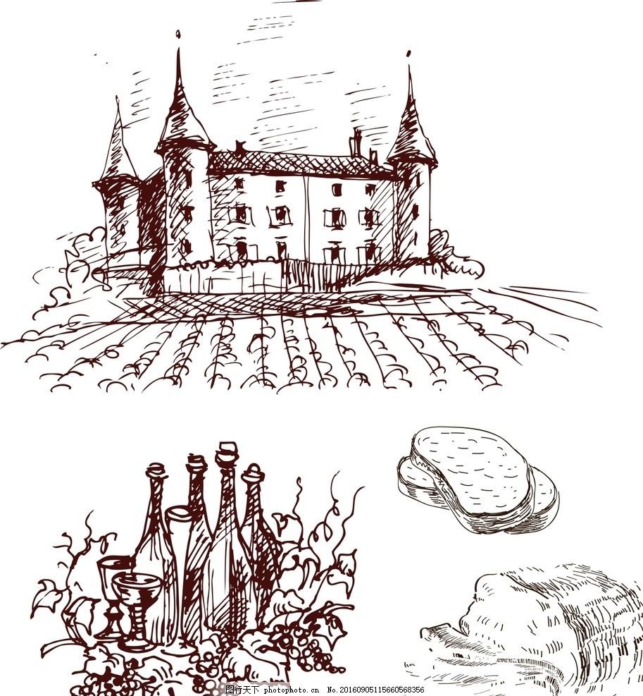 面包 酒水 城堡 素材 手绘素材 抽象设计 时尚 矢量素材 手绘 素描