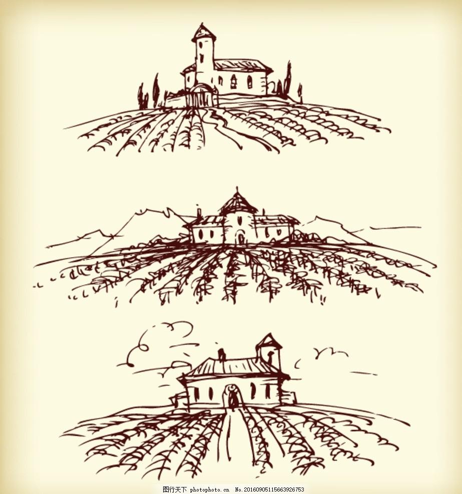 庄园素描 手绘素材 抽象设计 时尚 矢量素材 矢量素描素材 欧式