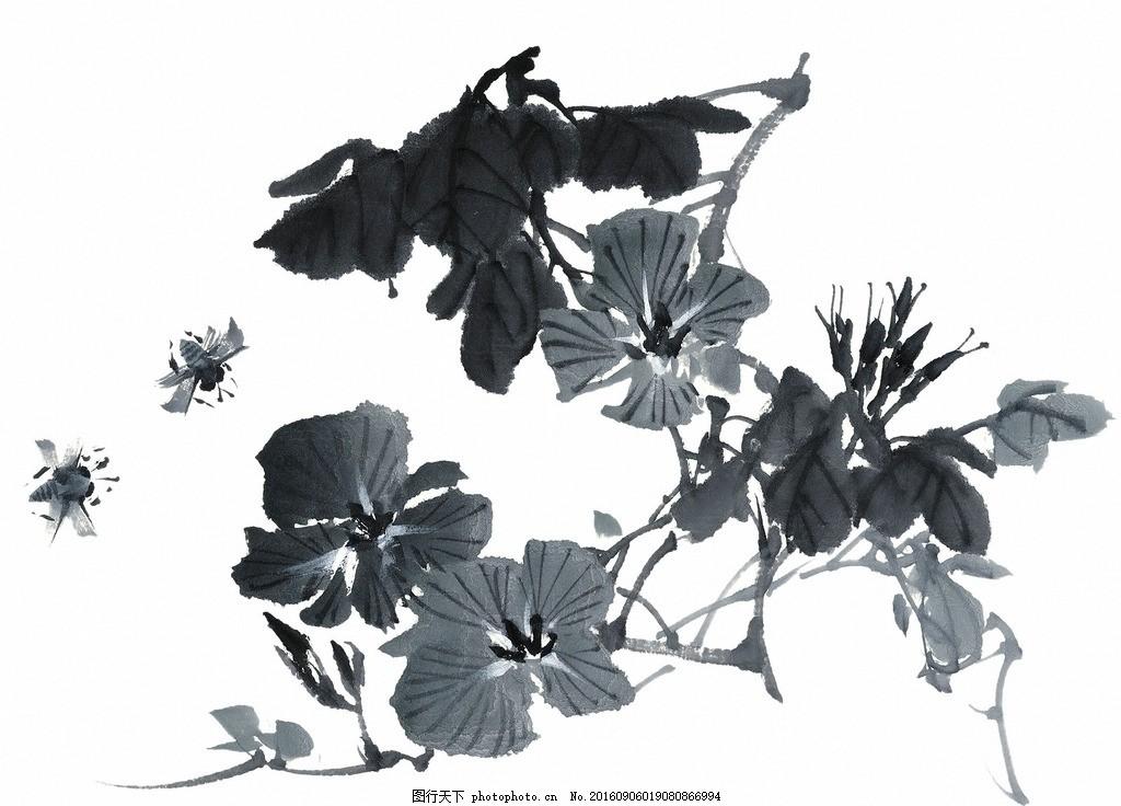 牵牛花 花卉 菊花 国画 素材 山水画 水墨画 插花 插画 中国风 展板