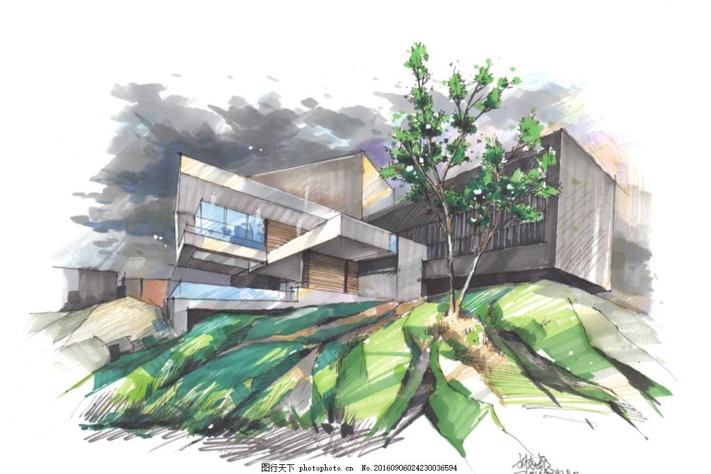 别墅效果图 建筑手绘 马克笔技法 建筑快题设计 设计 自然景观 建筑