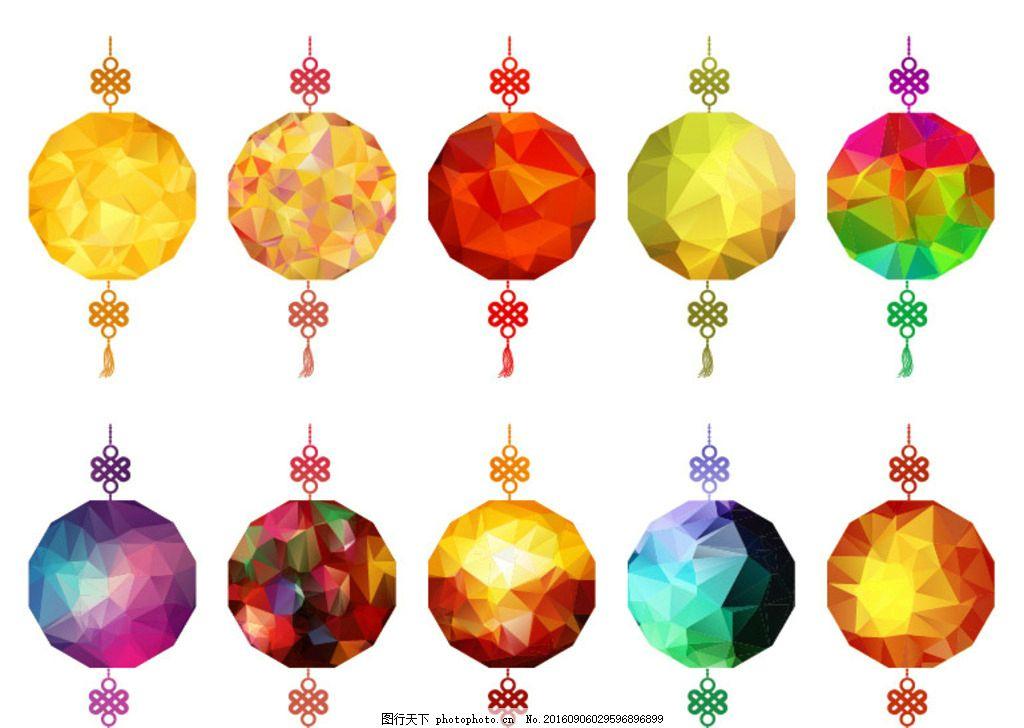 灯笼 彩色灯笼 中式灯笼 花纹灯笼 矢量灯笼 宫灯 新年素材 新春 喜庆