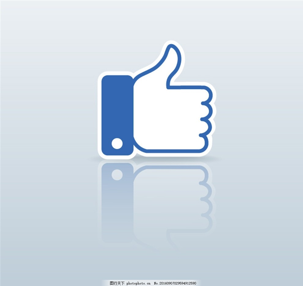蓝色大拇指手势标签矢量素材 赞扬 赞许 倒影 矢量图