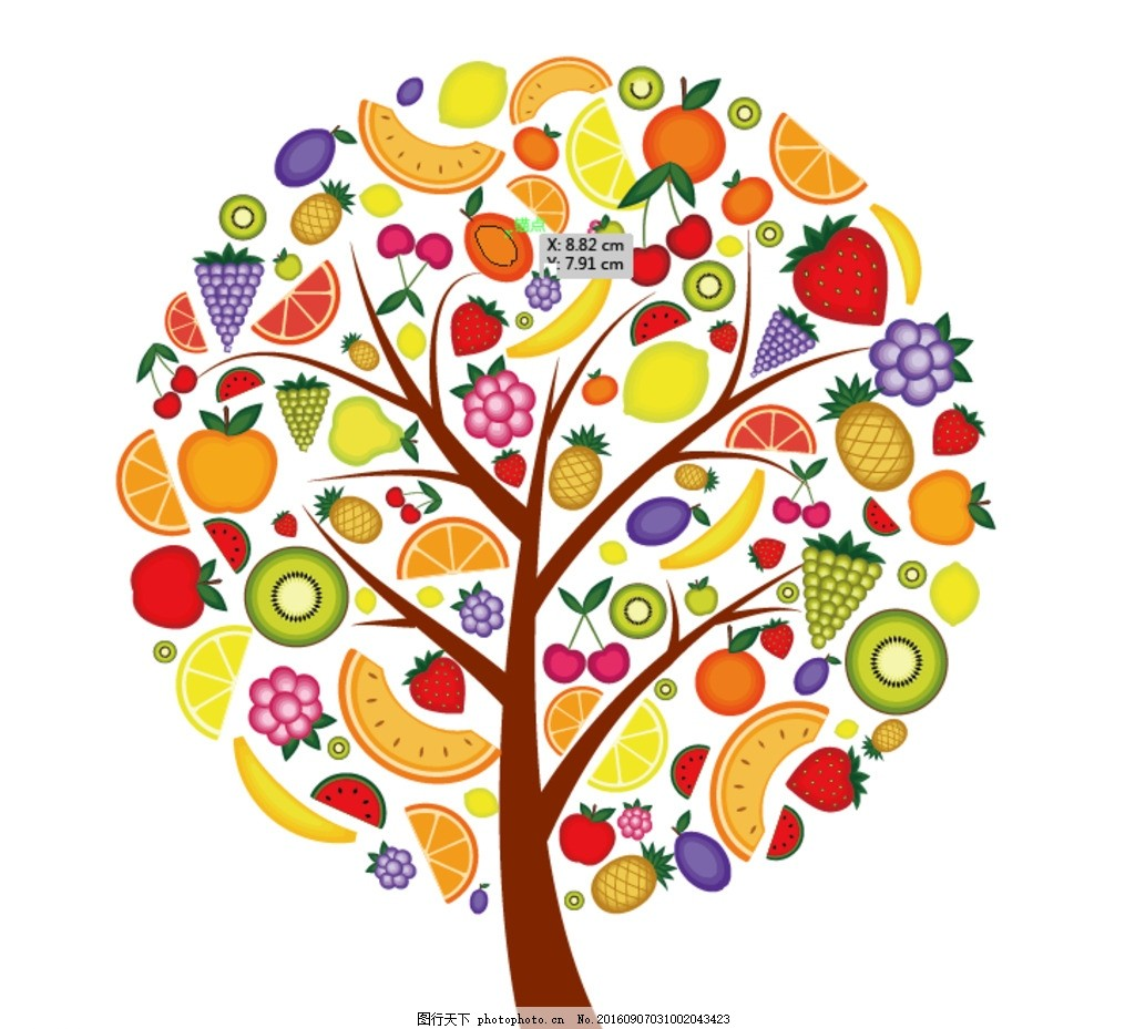 水果 各种水果 水果树 卡通水果 手绘水果 大树 果树 水果背景 设计
