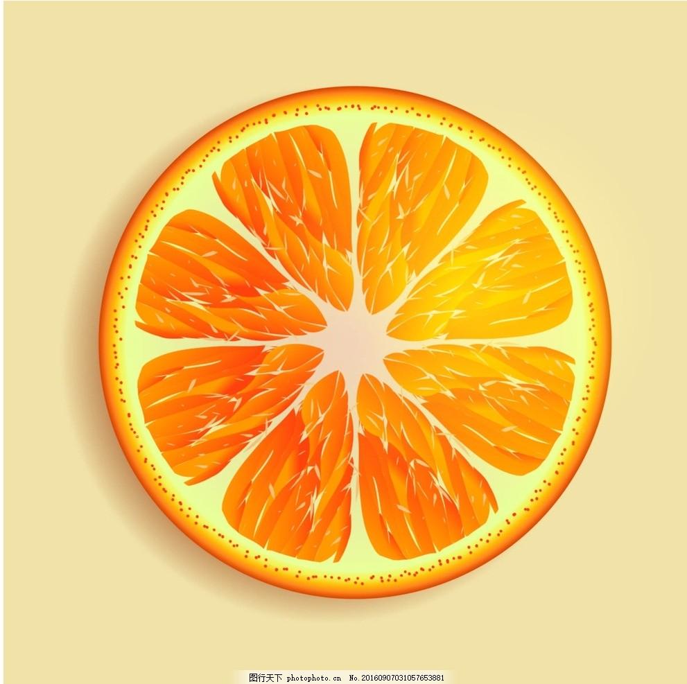 橙子矢量图 橙子矢量素材 切开的橙子 矢量橙子素材 手绘橙子