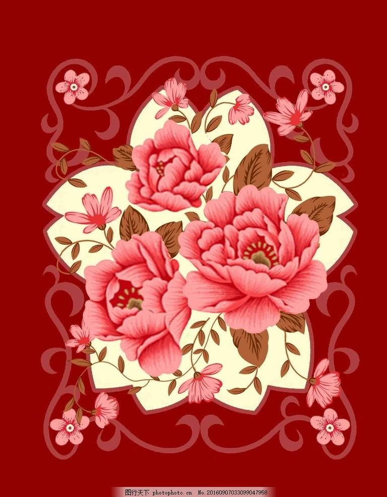 毛毯花型 设计图 家纺设计 花纹图片 花卉底纹 花朵 撇丝花