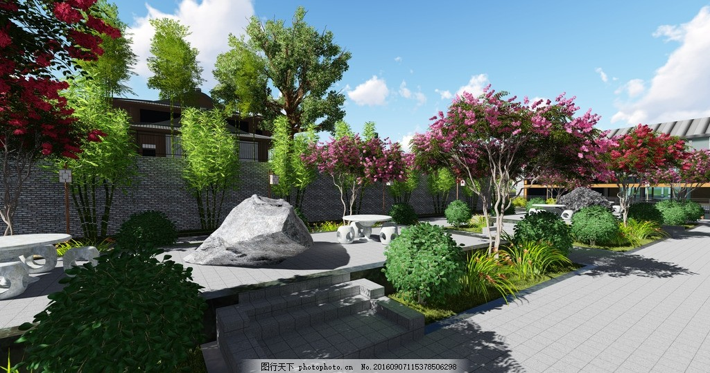 广场景观设计 景观园林        中式效果图 广场小品 中式小品 园林