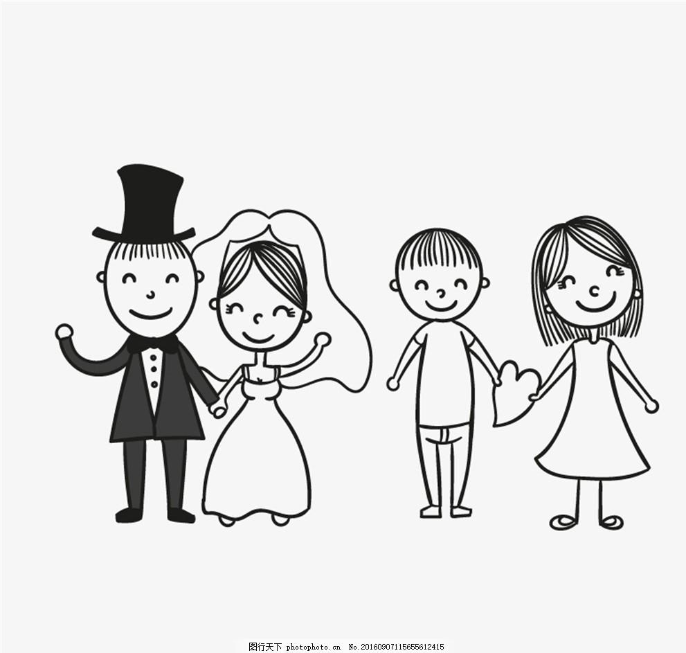 新娘新郎与情侣矢量素材