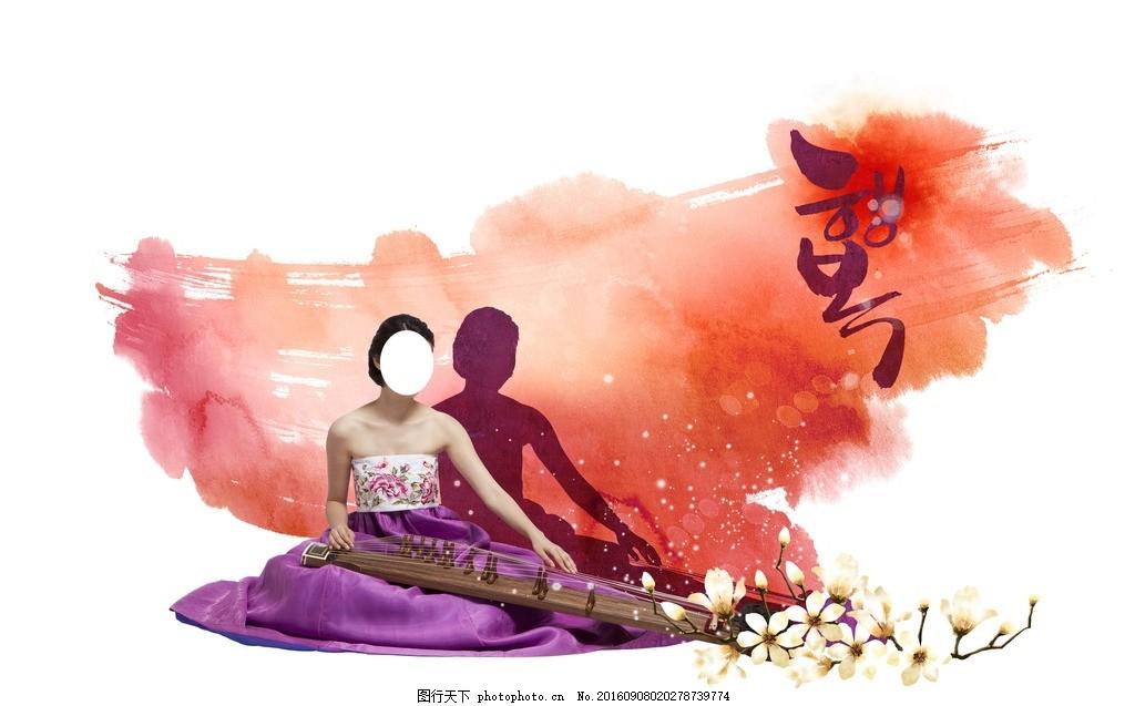 韩式卡通 水彩化妆品 时尚背景 韩式水彩 水墨泼墨 手绘背景 卡通人物